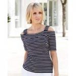 Nightingales Stripe Bardot Jersey Top