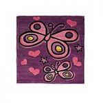Purple Butterfly Childrens Rug