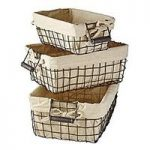 Set of 3 Lined Wire Baskets