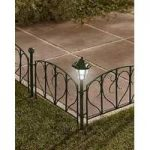 4 Fence Panels with Solar Post Lights