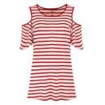 Red Stripe – Cold Shoulder T-shirt